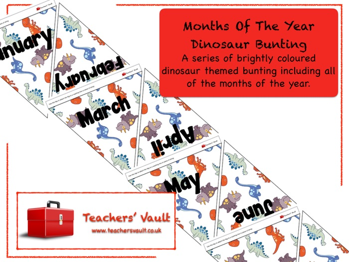Months Of The Year Dinosaur Bunting