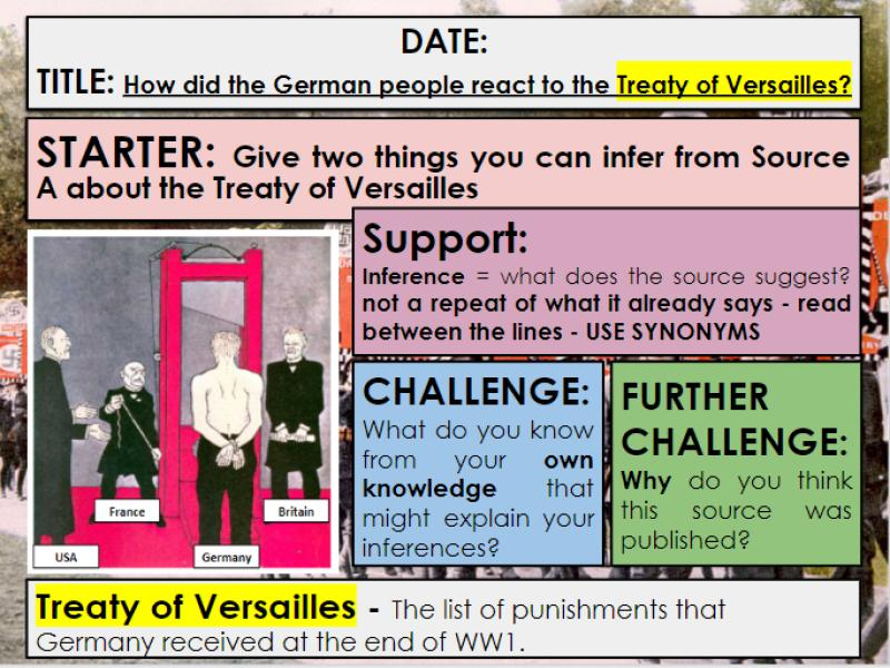 Edexcel 9-1 History GCSE: Paper 3 Germany: KT1 L3: What was the Treaty of Versailles? Q3b guidance