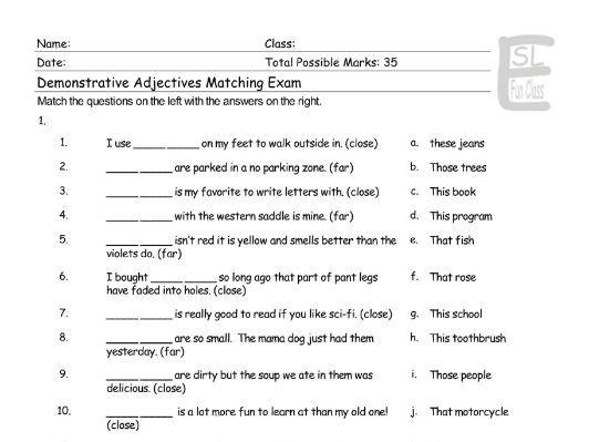 Demonstrative Adjectives Matching Exam