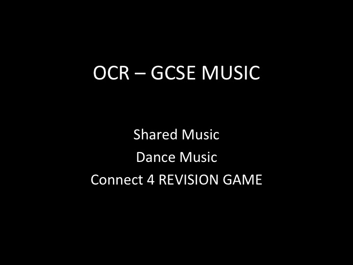 OCR GCSE Revision Game - Connect 4