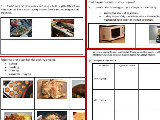 NEW GCSE Food Tech 3: Food Prep skills 8-page wkbk, cover, revision, class work, hwk... +cue cards