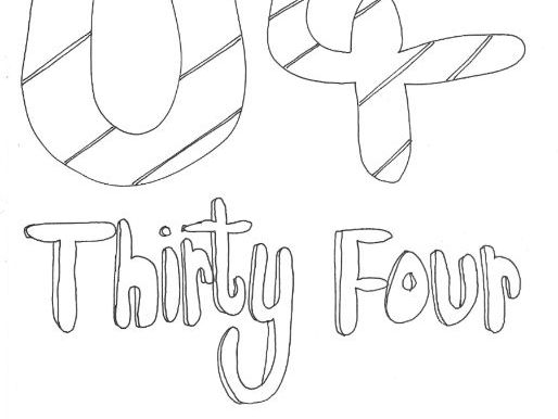 Thirty Four: Numbers (with word): Colouring Page