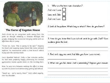 Upper KS2 guided  reading comprehension 'Suspense story'