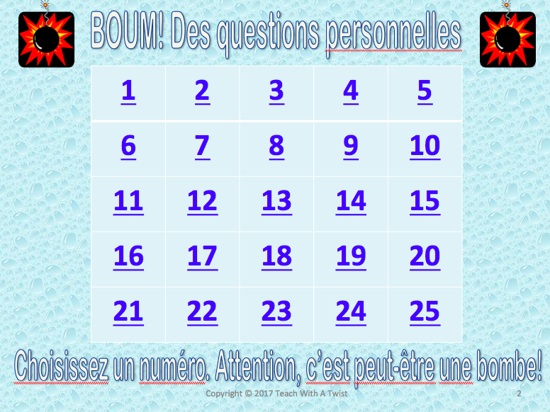 First year French review game - Des questions personnelles! Tout sur moi.