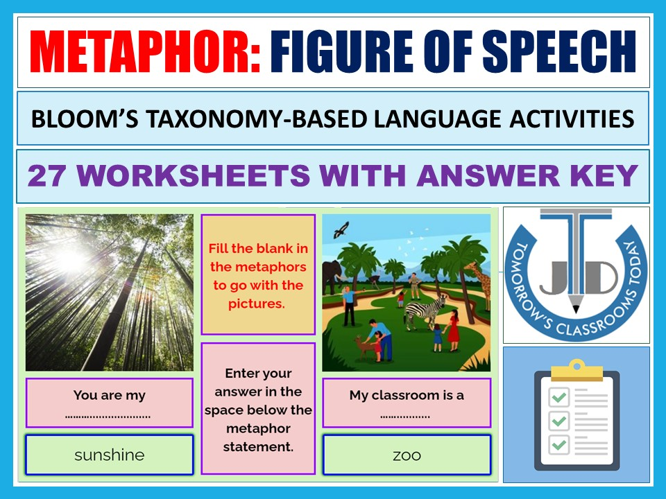 METAPHOR - FIGURATIVE LANGUAGE: WORKSHEETS WITH ANSWERS