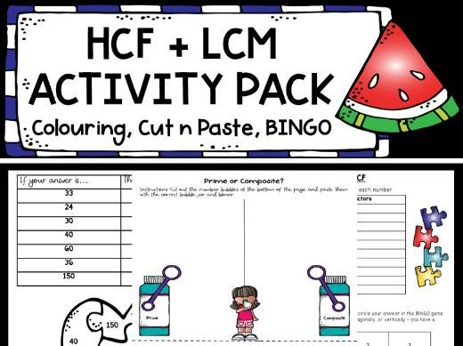 HCF and LCM Activity Pack! Factors, Multiples, Primes