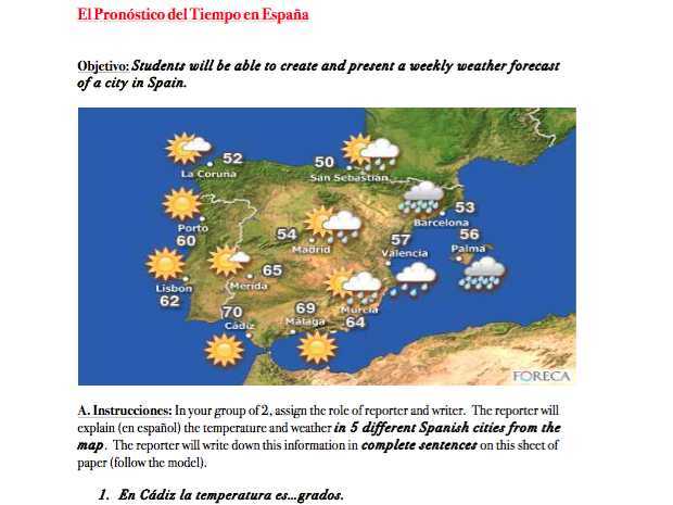 Spanish Weather Activities 2 Day Lesson By Mariammalek22