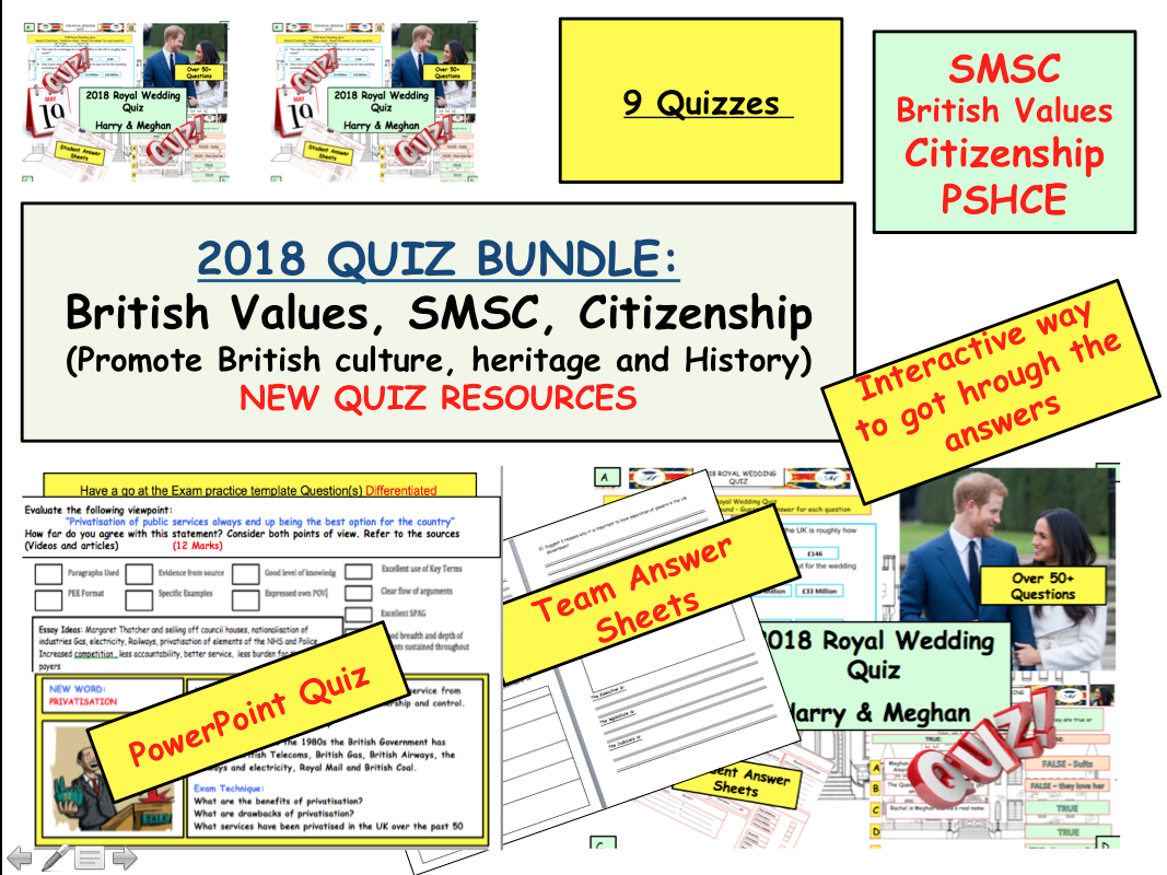 Quiz Bundle SMSC, British Values and Royal Wedding