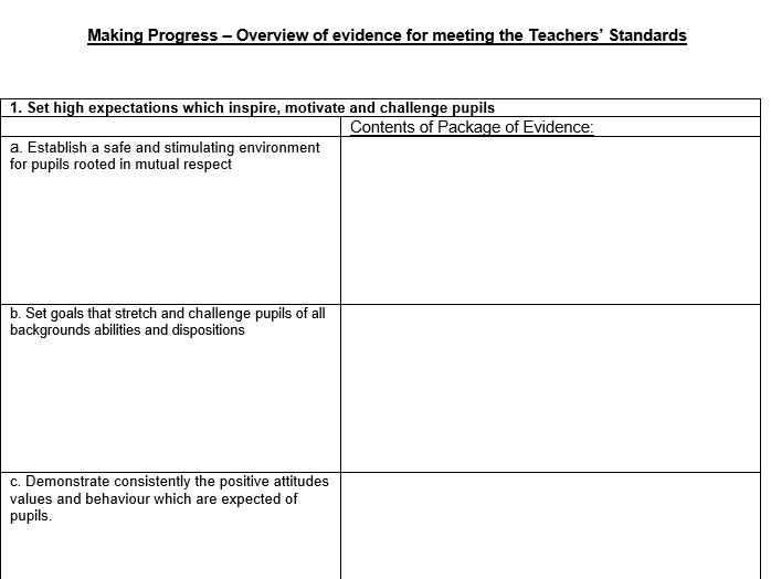 Teachers' Standards Evidence Cover Sheets