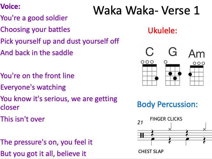 Waka Waka Shakira Ukulele 4 Chord/Body Percussion/ Vocal Arrangement