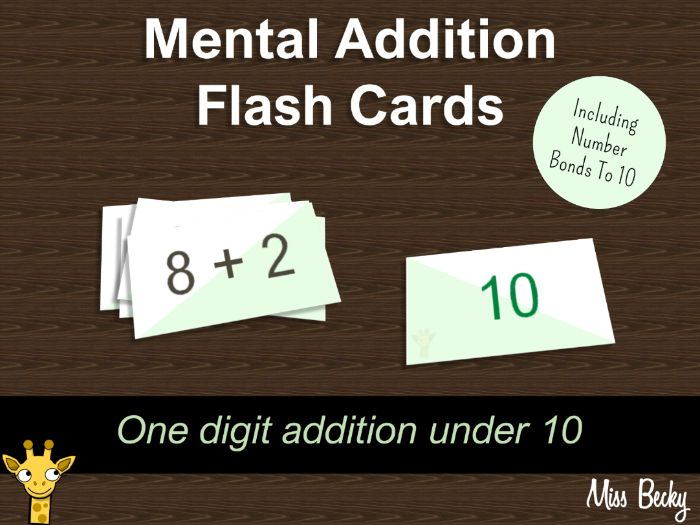 Mental addition flash cards - addition up to and including number bonds to 10