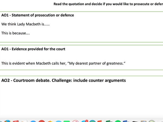 Lady Macbeth - courtroom style debate