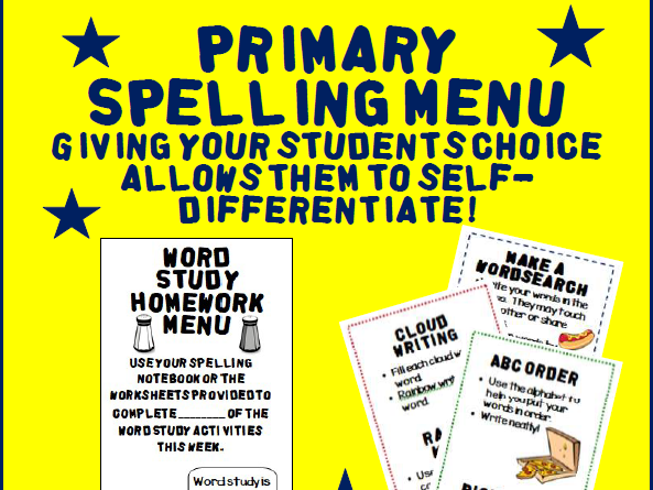 Primary Spelling Menu: Homework or Classwork