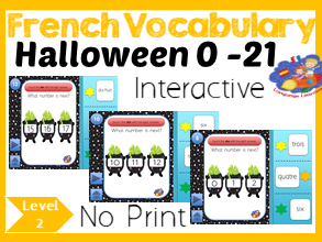 French Halloween Number Game - Next Number Pattern 1 - 21 - No Print