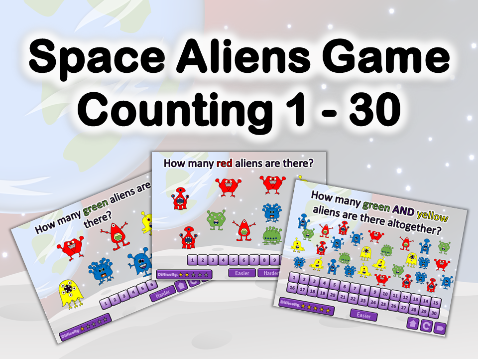 Space Aliens Counting 1-30