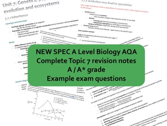 NEW A Level Biology AQA Topic 7 genetics, populations, evolution and ecosystems A* revision book