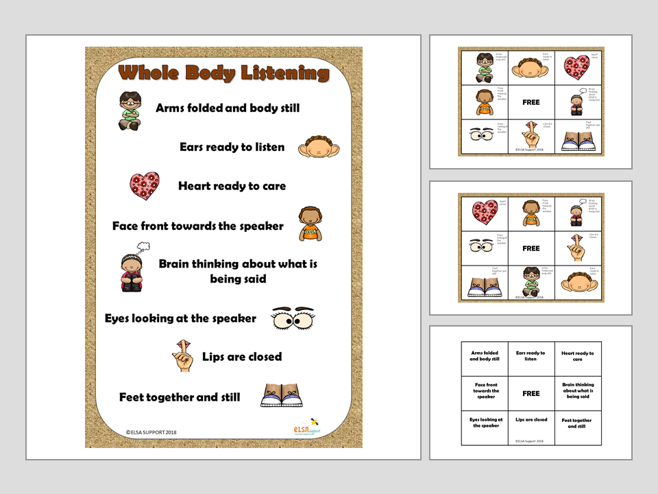 Whole body listening bingo and poster - Social Skills