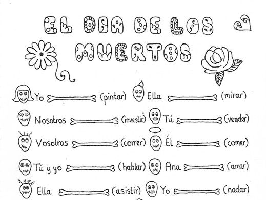 Spanish Day of the Dead worksheet to practice ANY tense conjugation