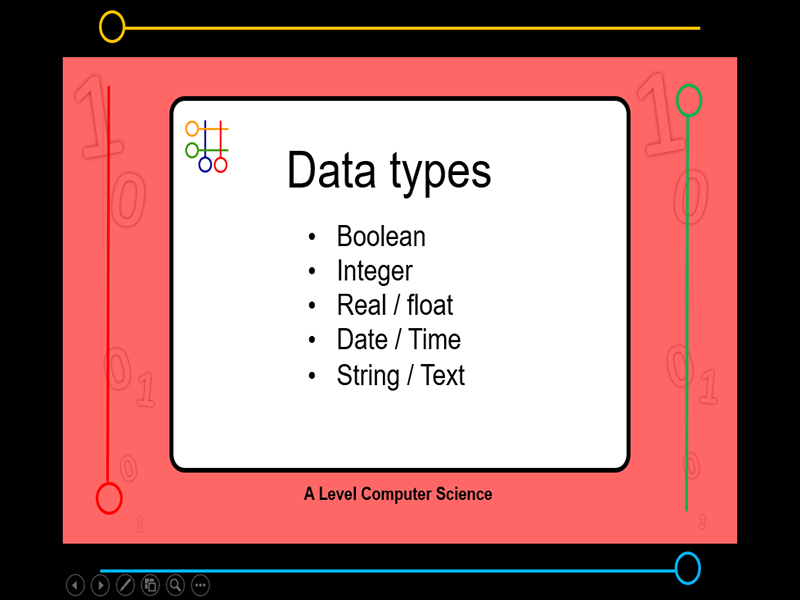 Presentation:   data types (x7 slides)