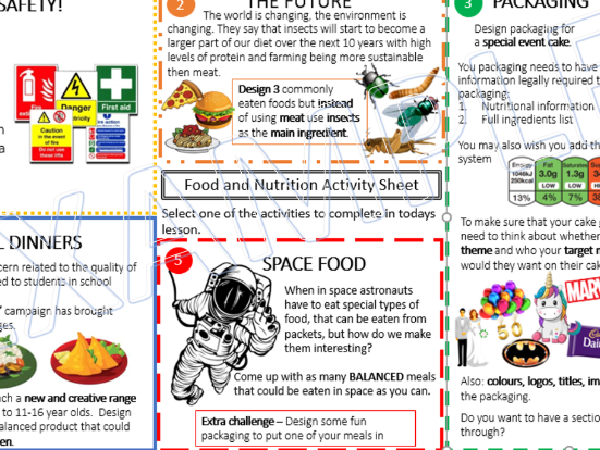 Cover Activity Sheet-Food and Nutrition