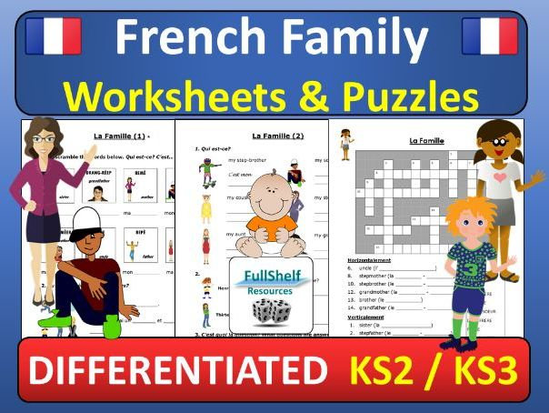 French Family (La Famille) Worksheets