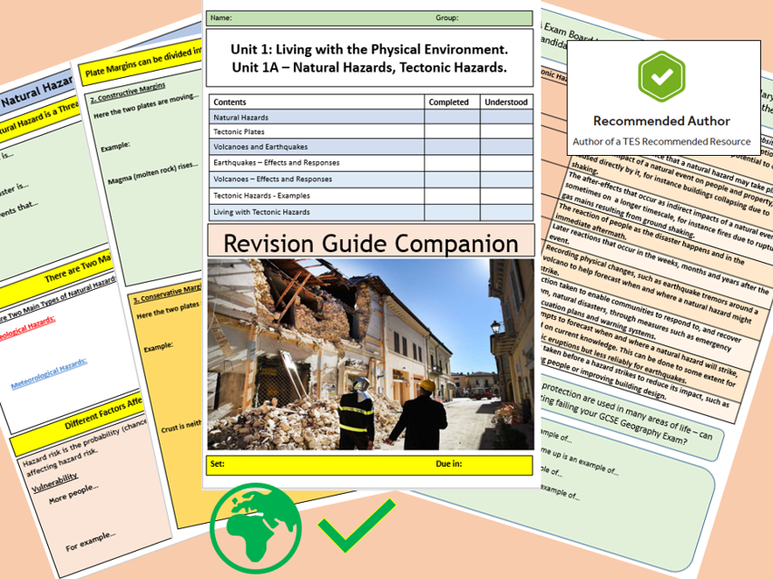 AQA 9-1 GCSE Tectonic Hazards Revision Guide Flipped Learning Booklet 2nd Edition.