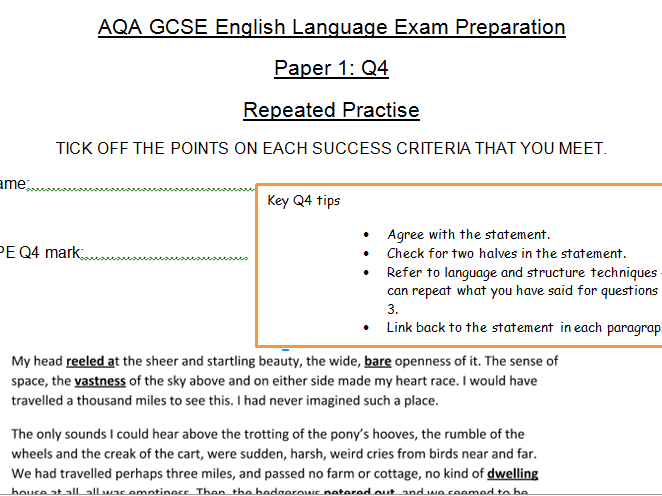 AQA GCSE English Language Paper 1 Booklets: Repeated Practise