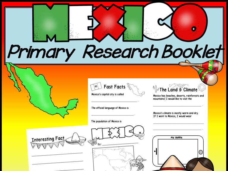 Mexico Research Booklet for Primary Students * Print and Go *