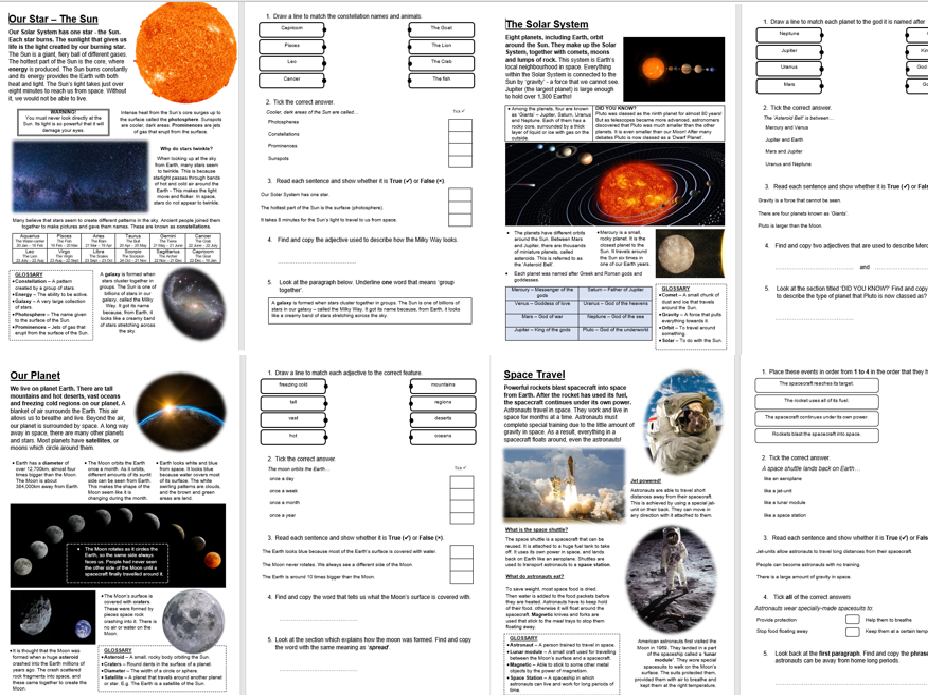 Space Bundle - x4 KS2 Primary Reading Comprehension National Test Style Sample Questions Pack