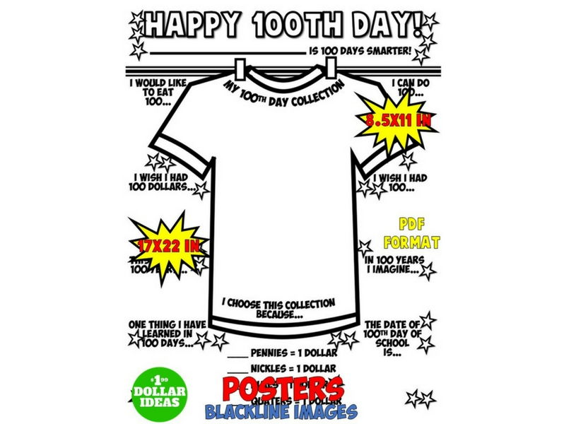 100TH DAY OF SCHOOL ACTIVITIES | POSTER | T-SHIRT