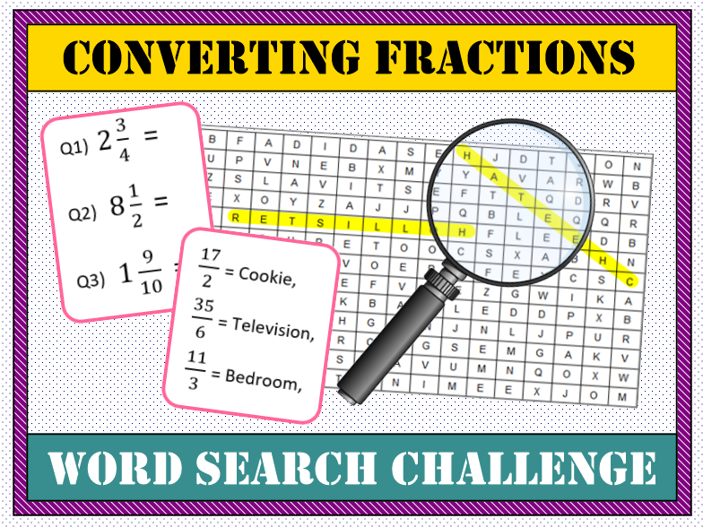 🍰 Converting Fractions (Mixed  to Improper) Word Search 🔎