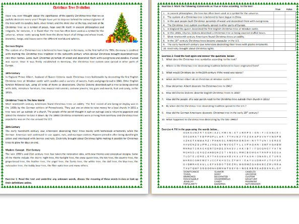 Christmas Tree Evolution - - Reading Comprehension Worksheet