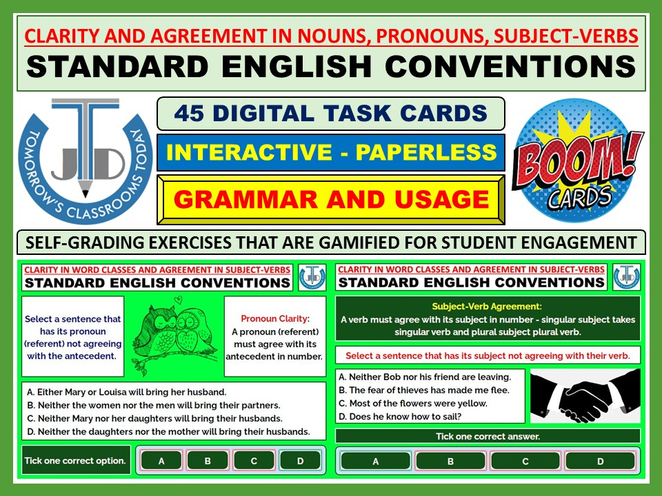CLARITY AND AGREEMENT IN NOUNS, PRONOUNS, SUBJECT-VERBS: 45 BOOM CARDS