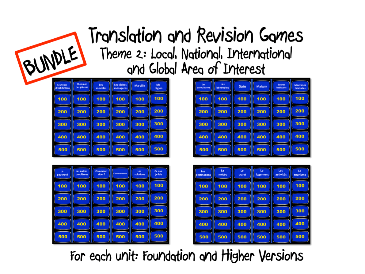 BUNDLE- Translation and Revision Games- Theme 2- GCSE French
