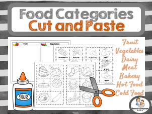 Food Category Sorting - Cut and Glue - Vocabulary Builder
