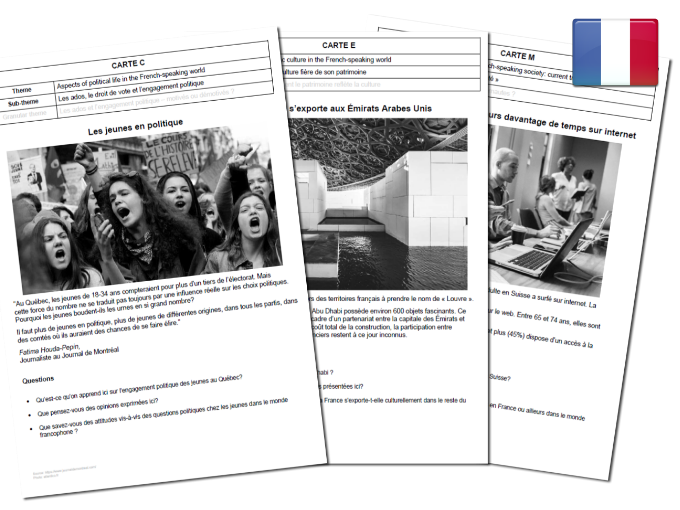 French AQA A-Level Speaking Cards : Current trends