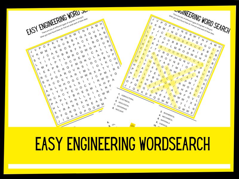 Easy Engineering wordsearch | KS2 KS1