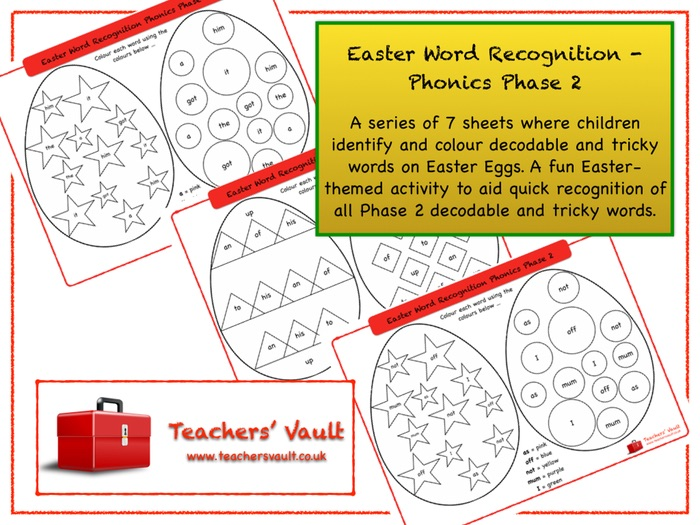 Easter Word Recognition - Phonics Phase 2