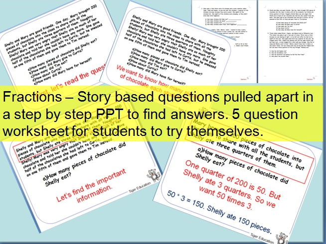 Fractions story Word problems Step by step PPT and wksht