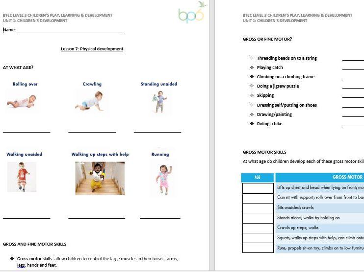 Physical Development lesson handout (CPLD L3 Unit 1)