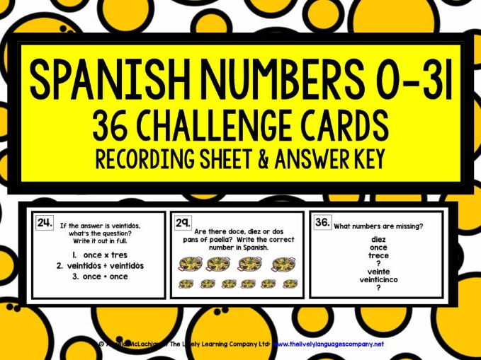SPANISH NUMBERS 0-31 CHALLENGE CARDS