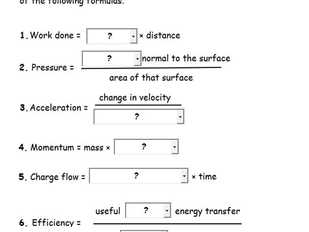 Self - marking Physics Test 2
