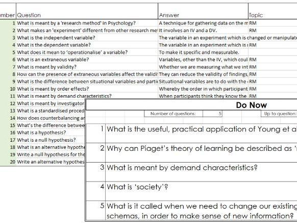 Edexcel GCSE 1-9 Psychology - Revision Question & Answers (Full Course)