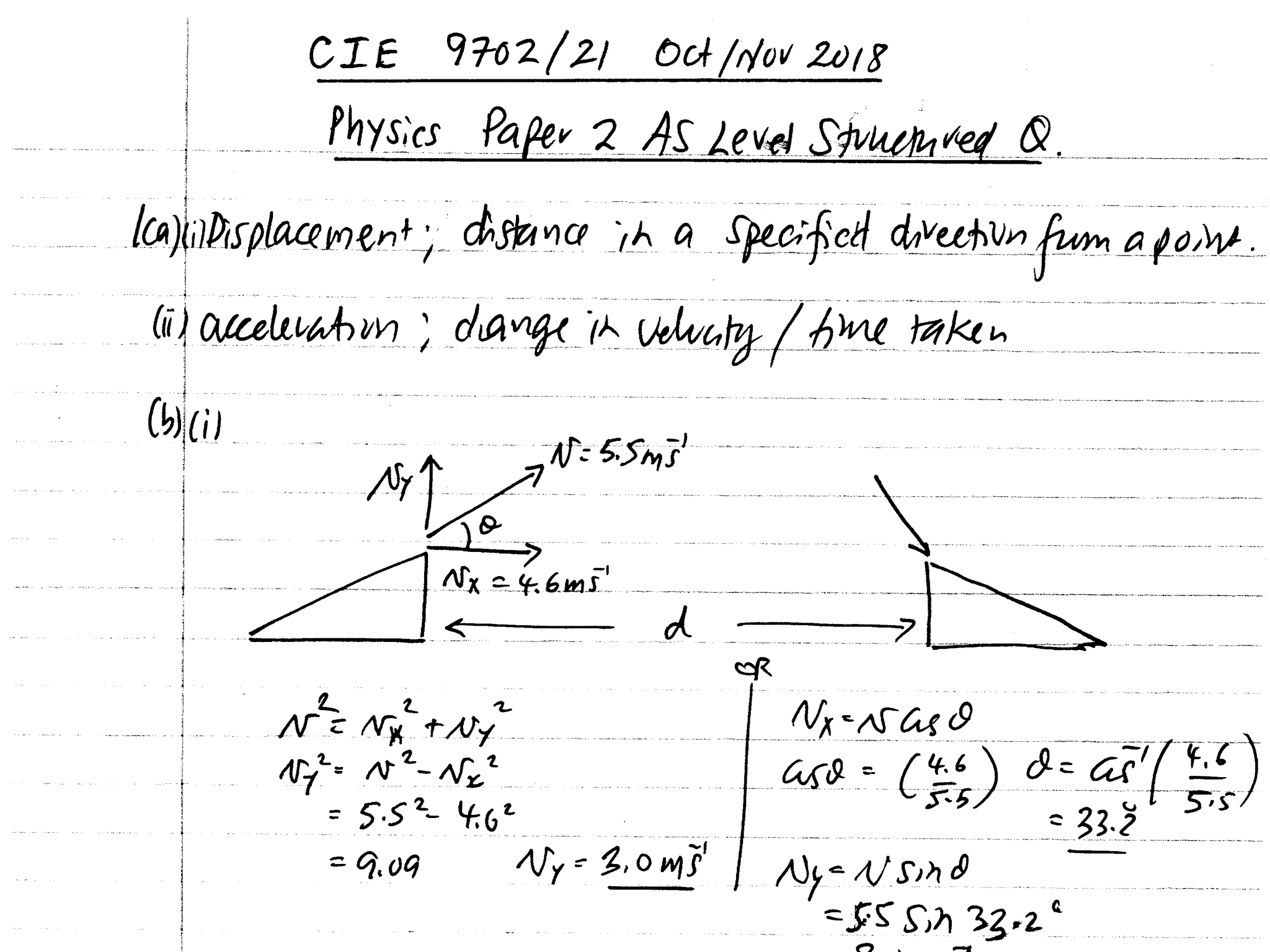 CIE A Level 9702/21 Oct/Nov 2018 paper 2 - Structured Questions Detailed Solutions
