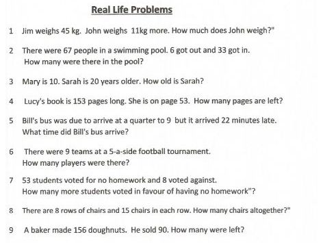 Real Life Word Problems