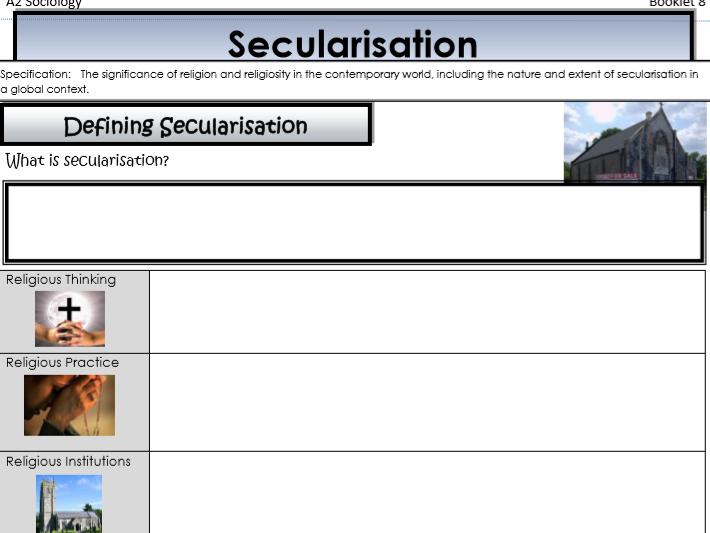AQA Sociology - Year 2 - Beliefs in Society - Religion in contemporary society