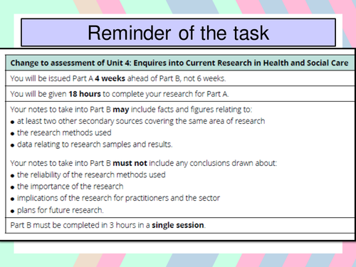 L3 Unit 4 Enquiries into Current Research Learning Aim C