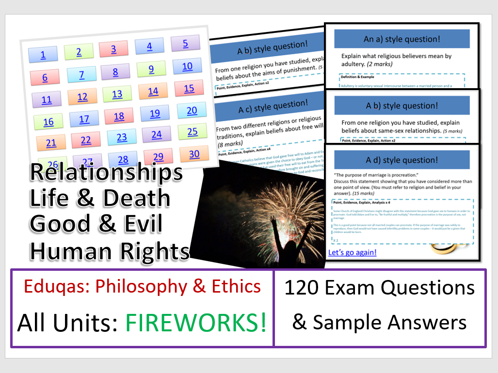 FIREWORKS! All Eduqas Exam Question Games from Philosophy and Ethics
