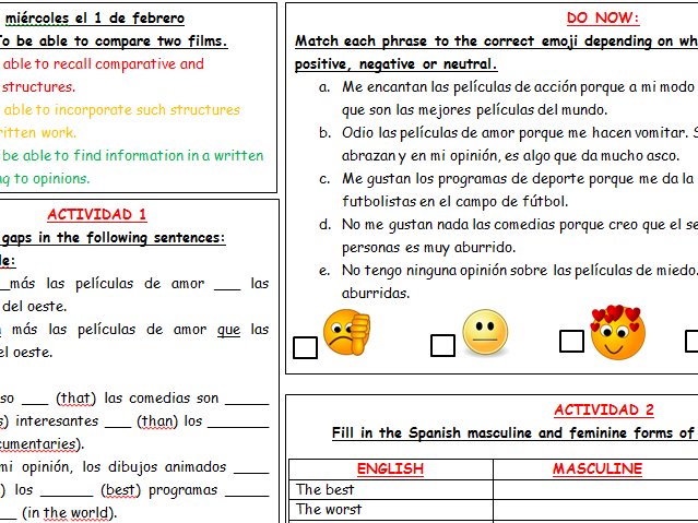 Las peliculas - comparatives and superlatives