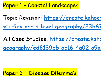 OCR A-Level Geography Coastal Landscapes and Disease Dilemma Revision Kahoot